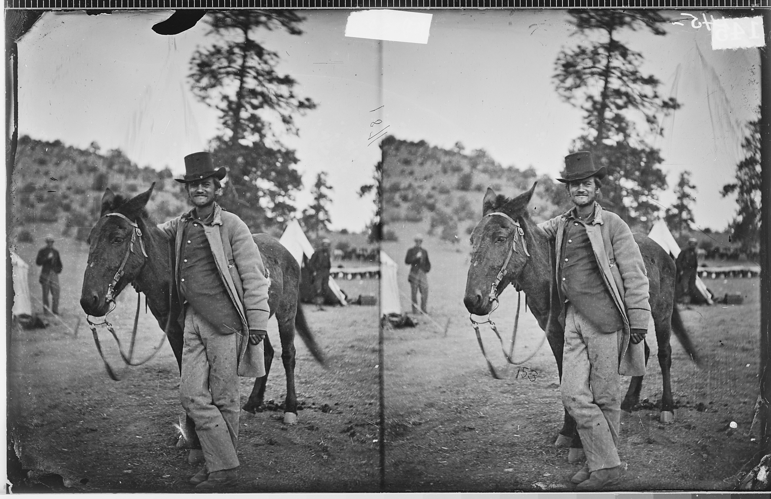 Fred W  Loring and His Mule, 'Evil Merodach,' 48 Hours Before Death